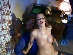Tight ass pale brunette in stockings gets rammed doggy style
