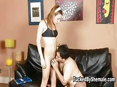 Shemale Mariana drills a guy