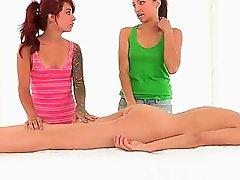 Lesbian Threesome - Massage
