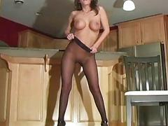 Tiny slit in fancy pantyhose