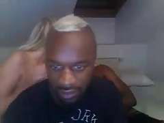 Two blacks guys fucking blonde girl on webcam