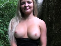 Blonde flashing big boobs outdoors in public