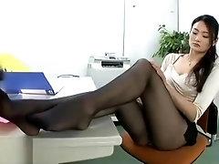 Japanese long legs office lady nylon footjob