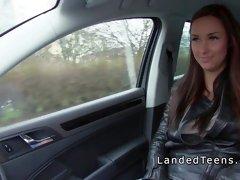 Busty Euro teen hitchhiker bangs big dick in public