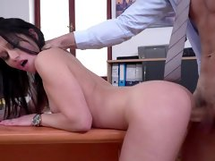 Sexy Emily Brix fucked on the desk by the horny boss