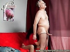 Old man in pantyhose fucks mature slut