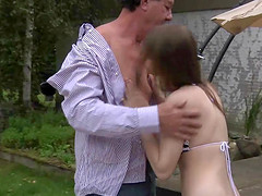 Perfect Natural Teen Fucked by Old Man Outside