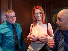 Huge natural tits redhead seals a business deal with her pussy