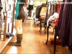 Store clerk in a tight mini skirt