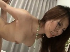 Rino Asuka hold cock in both her wet holes