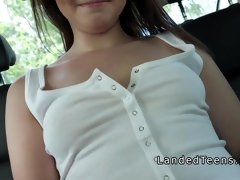 Natural busty teen bangs in the car in public