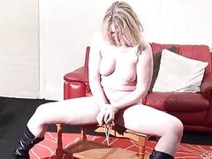 Stunning blonde chick tied up and then teased by cruel-man