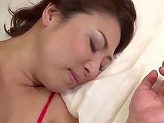 Alluring Japanese maid in red lingerie has sex with her partner