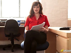 Whorish secretary Kate Anne is masturbnating her pussy in the office