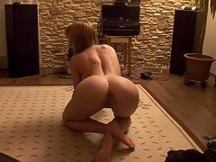 Cute blonde strips and pussy plays at home