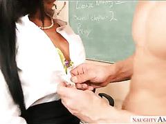 Hot like fire brunette lady Jaclyn Taylor swallows big dick of kinky teacher greedily