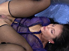 girl in inflatable pool staged squirting