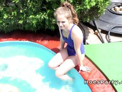 Hot amateur girlfriends having pool party