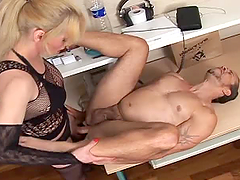 Valeria the sexy shemale with monster cock fucks a guy