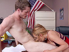 Horny student and naughty big tits teacher fuck in class