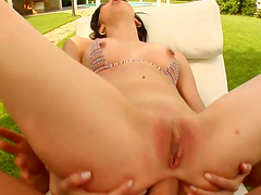Outdoors anal sex with a slutty brunette