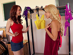 Lusty redhead Kendra James has lesbian sex with Alix Lynx