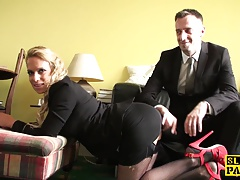 Fishnet euro dominated with facefucking