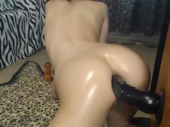 Stunning Nice Ass Amateur Having Fun With Big Dildo In Her Nasty Ass