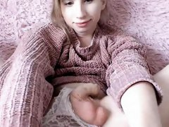 Innocent Looking Blonde Tgirl Plays Her Cock