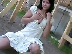 Cute teen in white dress public flashing