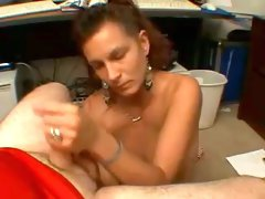 Mature ugly bronze skin lady jerks off white dick on cam