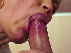 Naughty grandma Ursula blows a thick cock and fucks