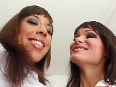 Shanis and Jeny B please each other with ardent anal fisting