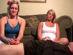Guy gets dominant handjob by his girfriend and her friend