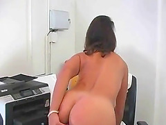 Voluptuous boss brunette dildo fucking her twat at the office