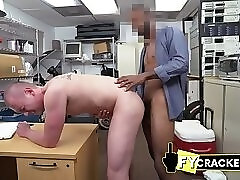 Gay male model gets his asshole screwed against directors desk