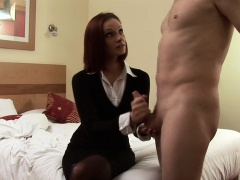 Redhead CFNM babe wanking submissive cock