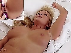 Busty cutie gets turned on and swallows a cock