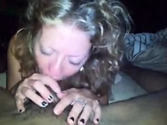 Mature amateur wife enjoys an interracial cuckold blowbjo