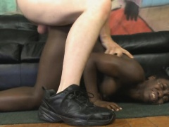 Black Ghetto Slut In A Wig Getting Roughed Up By White Guy