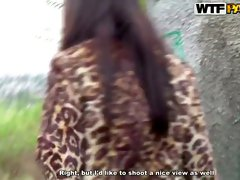 Voracuous Russian brunette Sasha gets doggyfucked outdoors
