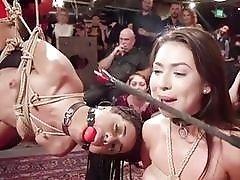 Pain loving slave girls tied up and toyed public BDSM