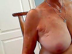 Horny blonde granny sucking dick