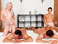 Lola Taylor and Clea Gaultier make a couple of cocks fat