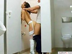Secretary Gets A Quickie In The Guys Loo