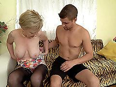 Short haired mature amateur blonde granny Maris loves a stiff cock