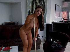 Sofia sucks and rides a schlong after taking a shower
