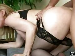 Pale blonde momma in sexy black lingerie gets banged doggy style
