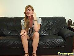 Solo tgirl dildos herself while spraying cum