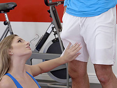 Athletic lady is ready to bend over for a handsome man's fat cock